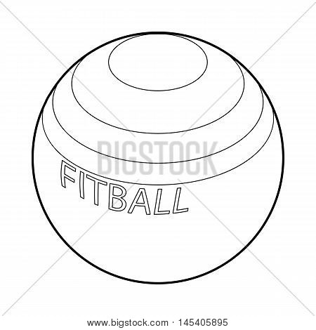 Fitball or large sports rubber ball for fitness icon in outline style isolated on white background