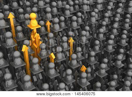 Crowd of small symbolic figures arrow pillars 3d illustration horizontal