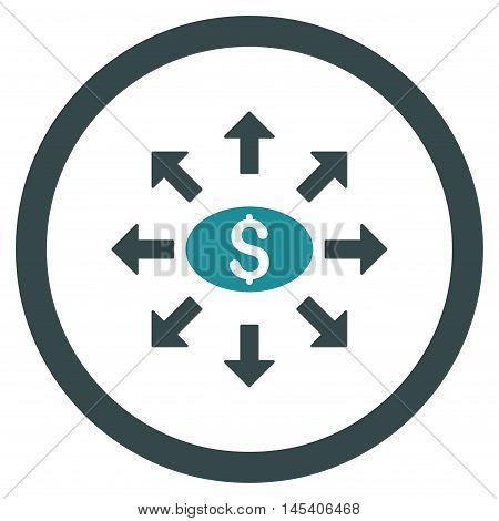 Mass Cashout rounded icon. Vector illustration style is flat iconic bicolor symbol, soft blue colors, white background.