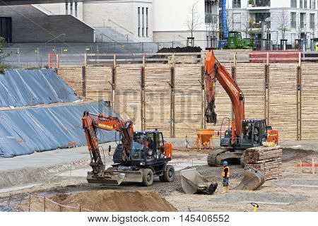 DUSSELDORF, GERMANY - APRIL 28: Construction bom - preparation of building foundations for the residential area in the city of Dusseldorf Germany on April 28 2016