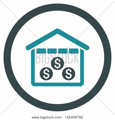 Money Depository rounded icon. Vector illustration style is flat iconic bicolor symbol, soft blue colors, white background.