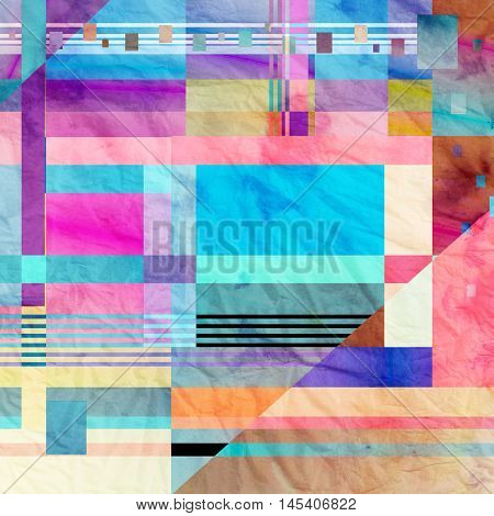 Abstract watercolor background with an interesting variety of geometric elements