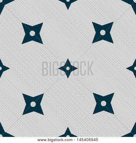 Ninja Star, Shurikens Icon Sign. Seamless Pattern With Geometric Texture. Vector