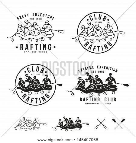 Rafting Club Emblem And Design Elements