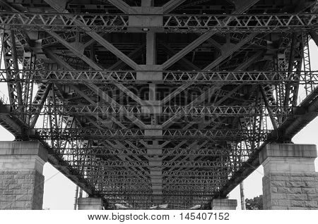 Under Sydney Harbour Bridge, NSW, Australia, processed in Black and White