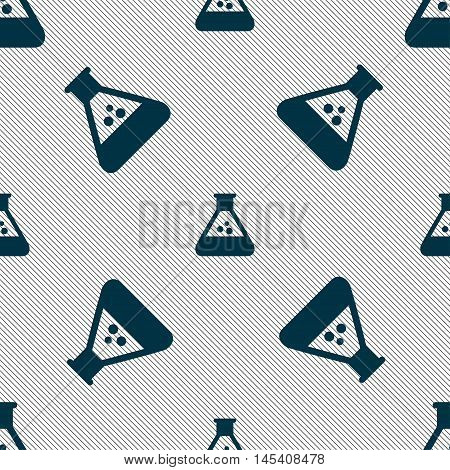 Chemistry Icon Sign. Seamless Pattern With Geometric Texture. Vector