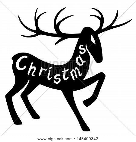 Christmas lettering: wonderful deer hoof beats (silhouette) design for Xmas cards banners and flyers vector illustration isolated on white background