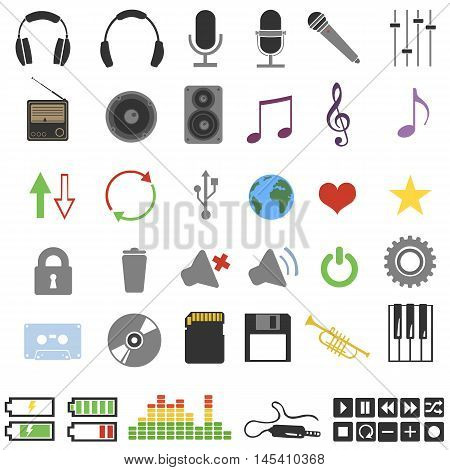 Vector Set Of 46 Color Music Icons