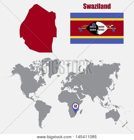 Swaziland map on a world map with flag and map pointer. Vector illustration