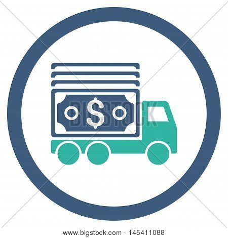 Cash Lorry rounded icon. Vector illustration style is flat iconic bicolor symbol, cobalt and cyan colors, white background.