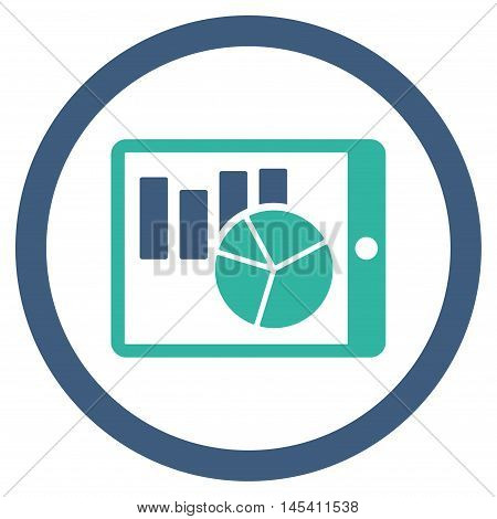 Charts on Pda rounded icon. Vector illustration style is flat iconic bicolor symbol, cobalt and cyan colors, white background.
