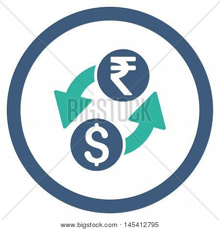 Dollar Rupee Exchange rounded icon. Vector illustration style is flat iconic bicolor symbol, cobalt and cyan colors, white background.