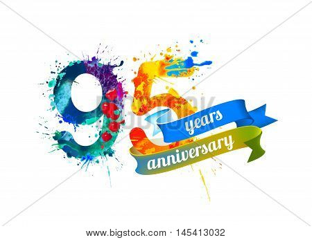 95 (ninety five) years anniversary. Vector watercolor splash paint