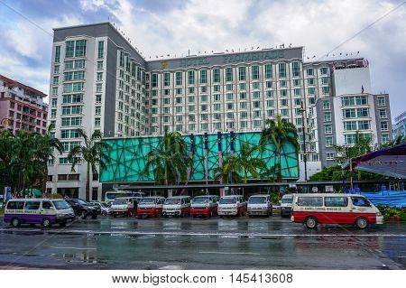 Kota Kinabalu,Sabah-Aug 30,2016:The famous Promenade Hotel on 30th Aug 2016 in Kota Kinabalu,Sabah,Borneo.This luxury hotel a 4 star property overlooking beautiful views of the South China Sea.