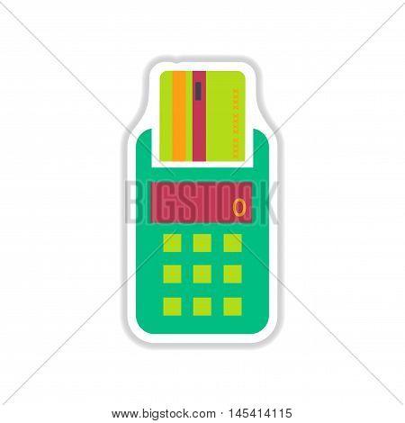 paper sticker on white  background   terminal machine, vector