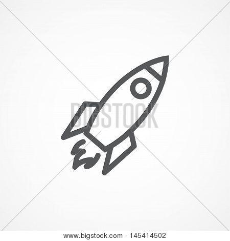 Gray Rocket line icon on white background