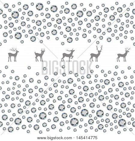 Seamless scattered diamonds (gems rhinestones) & deers isolated on white background vector illustration