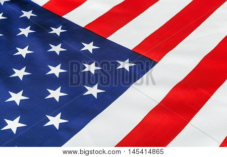 silk American flag Close up background decorate