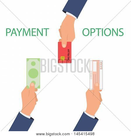 Vector concept of payment options in flat style - illustration on white background