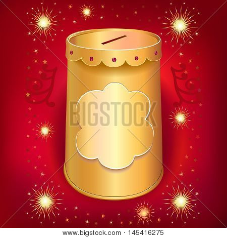 Universal blank holiday moneybox tin can template isolated on red joy background. Image contains transparencies gradient meshes and blends