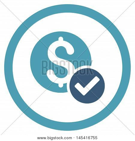 Approved Payment rounded icon. Vector illustration style is flat iconic bicolor symbol, cyan and blue colors, white background.