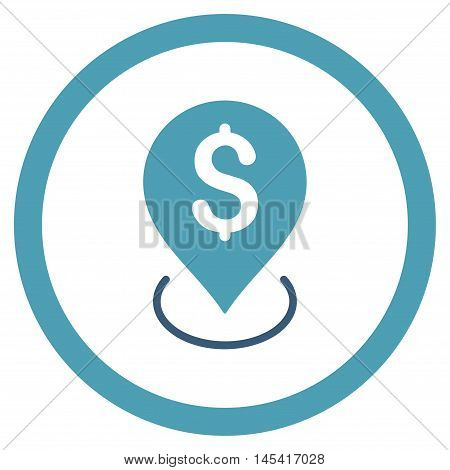 Bank Placement rounded icon. Vector illustration style is flat iconic bicolor symbol, cyan and blue colors, white background.