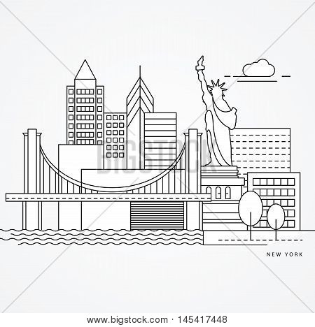 Linear illustration of New York, US Flat one line style. Trendy vector illustration, Greatest landmark - Statue of Liberty