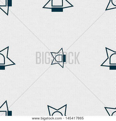 Police Single Icon Sign. Seamless Pattern With Geometric Texture. Vector