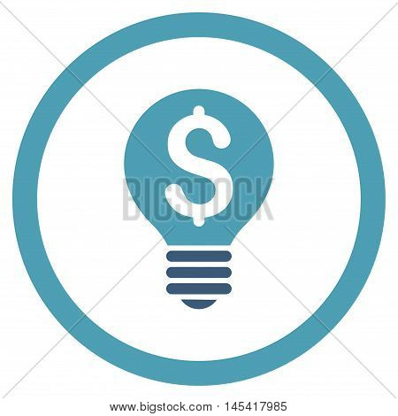 Business Patent Bulb rounded icon. Vector illustration style is flat iconic bicolor symbol, cyan and blue colors, white background.