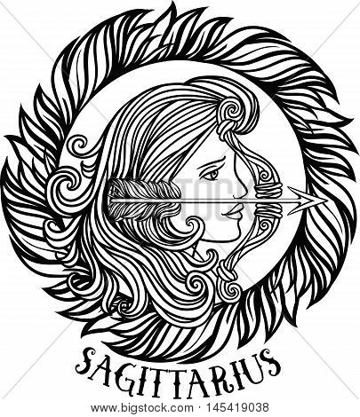 Detailed sagittarius in aztec filigree line art zentangle style. Tattoo coloring page for adult. T-shirt design. Zodiac sagittarius tribal decorative wool pattern. Vector