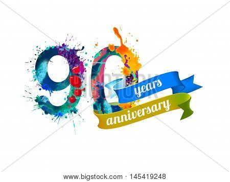 90 (ninety) years anniversary. Vector watercolor splash paint