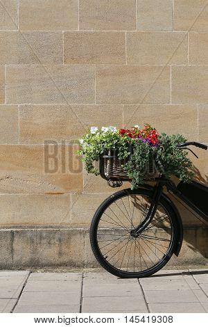Old vintage black bicycle with wicker basket of flowers leaning against a stone wall in Oxford