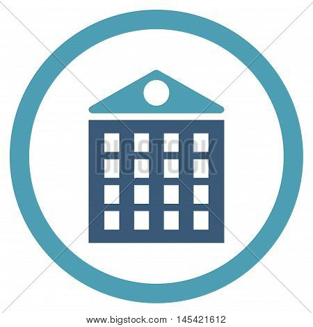 Multi-Storey House rounded icon. Vector illustration style is flat iconic bicolor symbol, cyan and blue colors, white background.