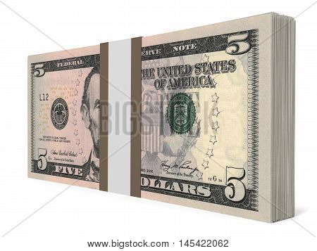 Pack Of Banknotes. Five Dollars.