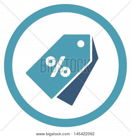 Percent Discount Tags rounded icon. Vector illustration style is flat iconic bicolor symbol, cyan and blue colors, white background.