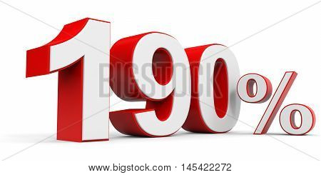 Discount 190 percent off on white background. 3D illustration.