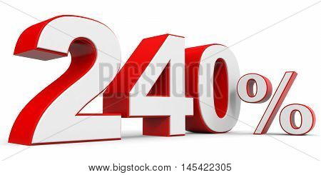 Discount 240 percent off on white background. 3D illustration.