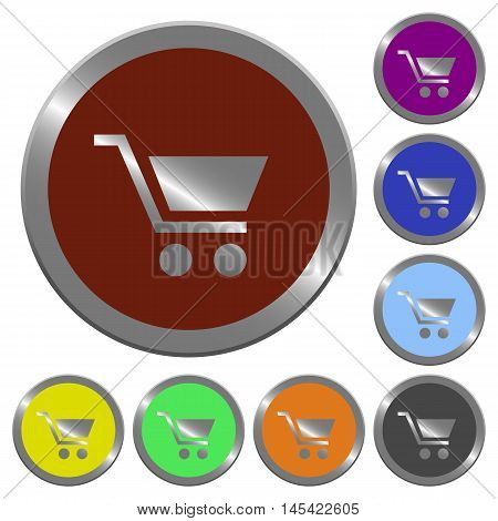 Set of color glossy coin-like empty shopping cart buttons