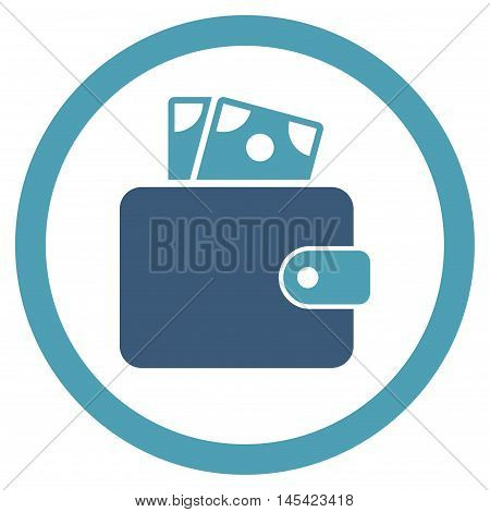 Wallet rounded icon. Vector illustration style is flat iconic bicolor symbol, cyan and blue colors, white background.