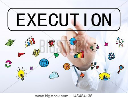 Businessman Touching Execution Button