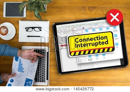 Computer Interrupted  Attention Alert Connection Interrupted Warning
