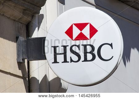 OXFORD UK - AUGUST 12TH 2016: A HSBC sign outside on of their branches in Oxford on 12th August 2016.