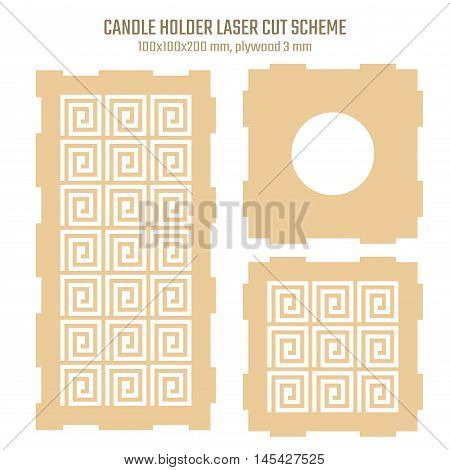 DIY laser cutting vector scheme for candle holder in greek style. Woodcut lantern scheme plywood 3mm. Greece meander design.