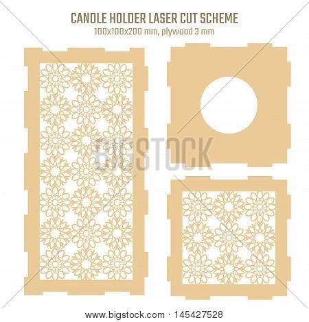 DIY Laser Cutting Vector Scheme for Candle Holder. Woodcut Lantern plywood 3mm. Oriental Geometric design.