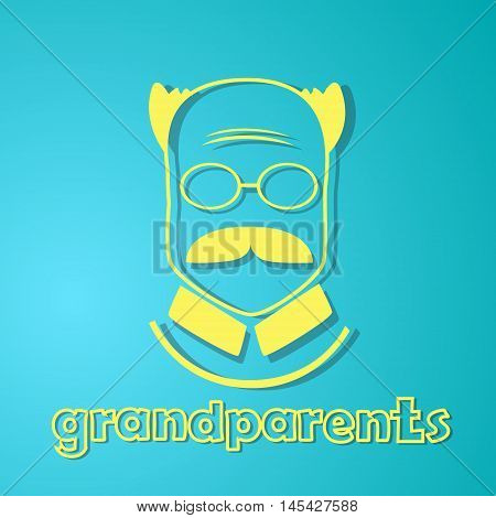 Grandfather Silhouette Happy Grandparents Day Greeting Card Flat Vector Illustration