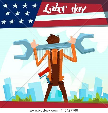 Worker With Big Spanner Builder Industrial City Background, American Labor Day USA Holiday Flat Vector Illustration