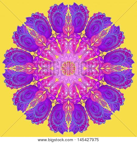 Vector Mandala background. Round Indian Ornament Patter