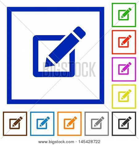 Set of color square framed editor flat icons