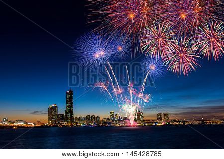 Colorful fireworks in Seoul , South Korea.