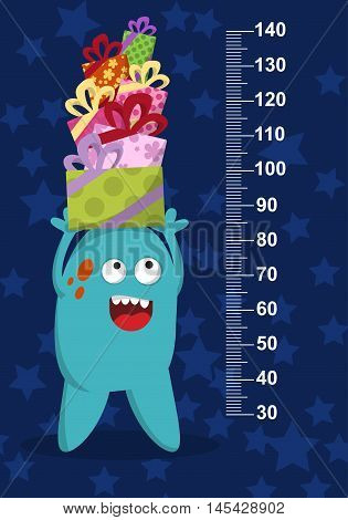 Happy Blue Monster With Gifts On Background With Stars. Stadiometer. Vector